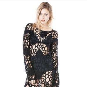 UNIF astra Crochet open knit long sleeve dress S
